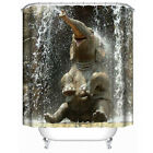 3D Happy Elephant Print Waterproof Bath Shower Curtain Bathroom Home Decor Hooks