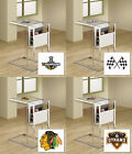 FC694 NEW SPORTS THEMED SLIDE UNDER FROSTED GLASS SHELF TV TRAY MAGAZINE RACK