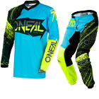 Oneal Element 2018 Burnout Motocross Jersey & Pants Black Blue Hi-Viz Kit MX Set