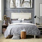 Bedsure Duvet Cover Set Grey/Ivory Printed Soft for Comforter Queen Pillow Shams image