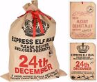 Christmas Sack Large Santa Elf Canvas Sack With Ribbon on Front Printed Xmas Bag