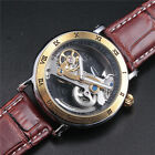 New Style Retro Mens Leather Strap Transparent Watch Automatic Mechanical Roman
