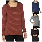 Lisa Rinna Collection Long Sleeve Foil Printed Knit Top A265564