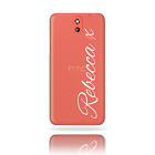 HAIRYWORM PERSONALISED NAME HEART KISS PRINTED CLEAR PLASTIC PHONE CASE FOR HTC
