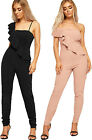 Womens Padded Bustier Jumpsuit Ladies Strappy Sleeveless Trousers Zip Back 8-14