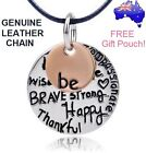 Be Brave Strong Happy Inspiration Message Pendant Genuine Leather Rose Necklace