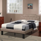Simple Modern Teen Kids Bedroom Twin Full Bed Frame Tan Headboard Button Tufted