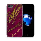 PERSONALISED AUTUMN GOLD MARBLE INITIALS NAME CUSTOM GEL PHONE CASE FOR IPHONE