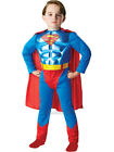 Child Metallic Chest Superman Outfit Fancy Dress Costume Superhero Kids Boys