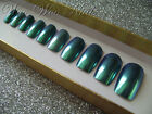 Hand Painted False Nails Full Cover Press on Nails Blue CHROME with Glue Boxed