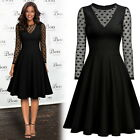 Women's Sexy See Through Polka Dot Cocktail Evening Party Mesh Black Swing Dress