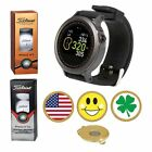 GolfBuddy WTX Golf GPS/Rangefinder Watch + Titleist PRO V1 or V1X + Ball Marker