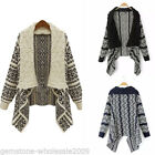 Womens Fashion Long Sleeve Knitted Floral Cardigan Casual Chunky Sweater Outwear