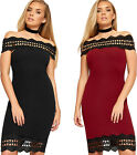 Womens Bardot Off Shoulder Scallop Trim Lace Panel Ladies New Bodycon Knee Dress