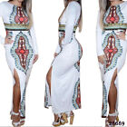 AFRICAN PARTY DRESS SIDE SPLIT LONG SLEEVES MAXI DRESS DASHIKI PATTERNS