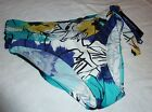 Be Creative Sz 8 10 Bikini Bottom Swimsuit Pants Bright Blue Floral Mesh Sash