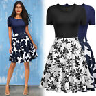 Women's Casual Floral Print Contrast Wear to Work Party Flare A-line Swing Dress