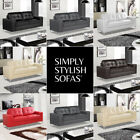 PINTO Modern Italian Inspired Leather Sofas 3 + 2 + Armchairs + 1 Year Guarantee