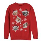 Lost Gods Ugly Christmas Sweater Cat Snowflakes Womens Graphic Sweatshirt