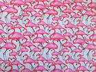 Pink Flamingos FQ Large Print White Background Poly/Cotton fabric FQ's  Free P&P