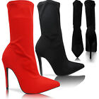 NEW WOMENS LADIES HIGH HEEL STILETTO POINTED TOE LYCRA ANKLE BOOTS SHOES SIZE