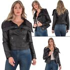 Womens Brave Soul Jacket Puffer Fur Collar Bike Ladies long Sleeves Coat Leather