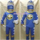 NEW SIZE 2-9 Yrs Boys Kids Hero BLUE Power Rangers Costume Party Gift 3 Pcs Set