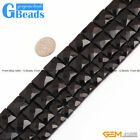Natural Black Agate Square Faceted Beads For Jewelry Making  8mm 10mm 12mm 14mm
