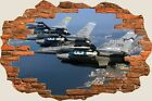 3D Hole in Wall Air National Guard F16 Fighting View Wall Stickers Mural 645
