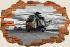 3D Hole in Wall Army Fighter Helicopters View Wall Stickers Decal Mural 914