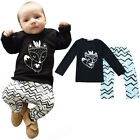 2PCS Toddler Newborn Baby Kids Boy T-shirt Top+Pants Trousers Outfit Clothes Set
