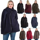 Womens Italian Lagenlook chunky knit cocoon Coatigan Jacket Buttons Funnel Neck