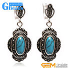 New 11x26mm Oval Beads Tibetan Silver Dangle Earring Lady's Fashion Jewelry