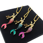 Charming Women Bamboo Chain Crystal Shiny Mermaid Pendant Clavicle Necklace Gift