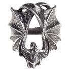 Stealth Pewter Ring Outstretched Hugging Vampire Bat Wings Alchemy Gothic R216 image