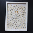 Personalized Engraved Drop Top Wooden Wedding Guest Book white Frame-120 hearts