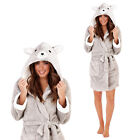 Loungeable Boutique Womens Luxury Bear Applique Double Lined Hooded Robe Gown