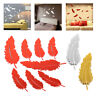 8pcs Feather Mirror Glass Tile Wall Stickers Decal Home Room Decoration Decor
