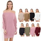 LADIES OFF SHOULDER KNITTED BARDOT NEW LONG OVERSIZE BAGGY JUMPER DRESS UK 8-16