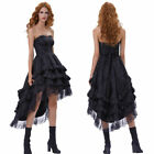 Retro Steampunk Vintage Gothic Halloween Costume Long Gown Corset Bustle Dress