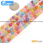6mm Round Gemstone Dyed Mixed Crackle Rock Quartz DIY Jewelry Making Beads15""