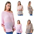LADIES SLASH NECK OFF SHOULDER BAGGY SEE THROUGH WOMEN KNITTED JUMPER TOP 8-16