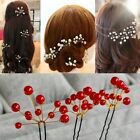 Red Wedding Bridal Bridesmaid Pearl Hair Pins Grips Hair Jewelry Lot Accessories