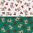 Fun with Rudolph Baby Reindeer and Festive Bows 100% Cotton Patchwork Fabric