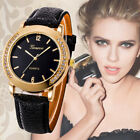 Fashion Ladies Diamonds Stainless Steel Leather Quartz Analog Wrist Watch image