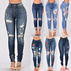 Women Ripped High Waisted Skinny Floral Long Jeans Stretch Denim Pants Trousers