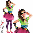 80s Totally Awesome Costume Teen Neon Pink Tutu Fancy Dress Girls Outfit New