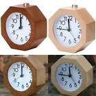 Classical Table LED Desk Wood Wooden Alarm Clock Snooze Beech Round Decoration