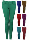 Womens Stretch Jeggings Trousers Red Navy Purple Full Length Ladies New Sz 6-14