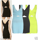 Womens Ladies Celeb Inspire Scallop Cut Out Summer Bodycon Midi Dress UK 8-14